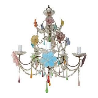 1930s Italian Murano Multi-Color Flowers & Drops Chandelier For Sale