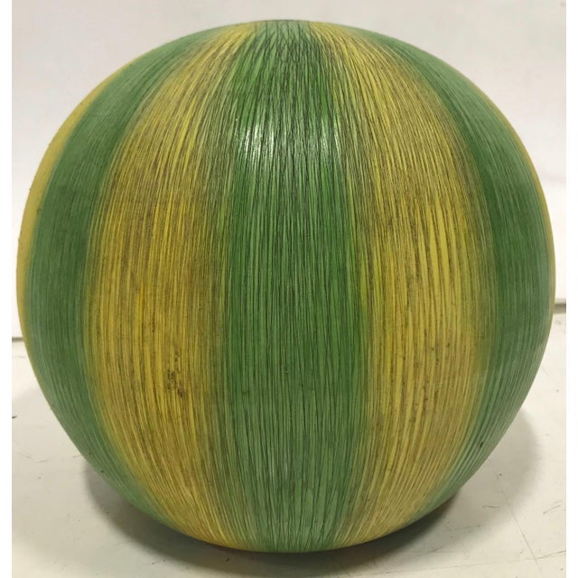 "Italian ""Sgraffito"" Italian Ceramic Watermelon Lamp Base For Sale - Image 3 of 5"