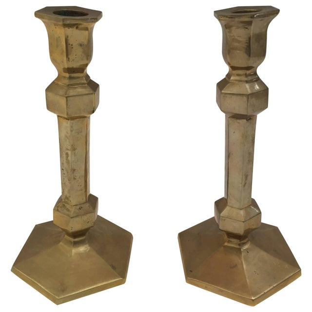 Pair of Brass Candlesticks For Sale - Image 9 of 9
