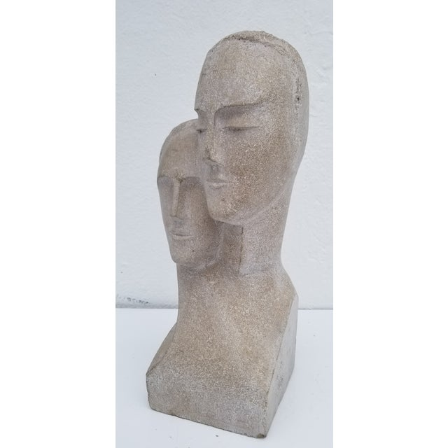 "Abstract 1960s Vintage ""His and Hers "" Carved Stone Bust Sculpture For Sale - Image 3 of 12"