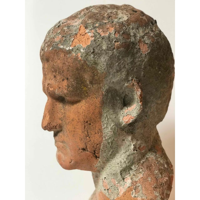 Terra Cotta Bust of Man With Cement Remnants From France For Sale - Image 4 of 5