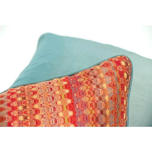Poppy & Aqua Silk Pillows - A Pair - Image 7 of 8
