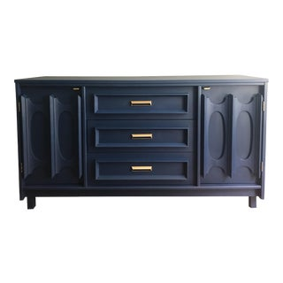 1970s Boho Chic Bassett Furniture Navy Blue Sideboard Buffet