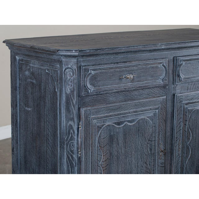Antique French Régence Style Black Limed Oak Buffet circa 1770 - Image 6 of 11