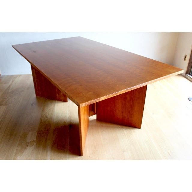 Cherry Wood Vintage Custom Usonian Frank Lloyd Wright Taliesin Style Prairie Arts and Crafts Cherry Expanding Dining Table, Seats 8-16+ For Sale - Image 7 of 13