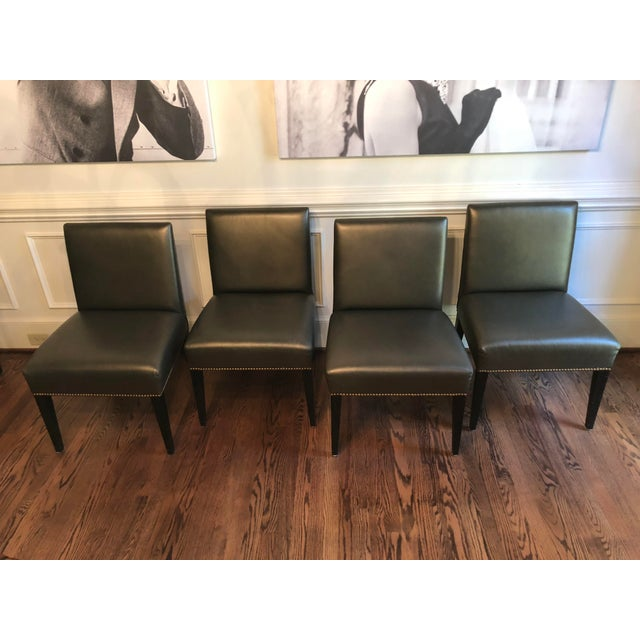 Modern Edelman Leather Custom Built Armless Dining Chairs - Set of 5 For Sale In Charlotte - Image 6 of 8