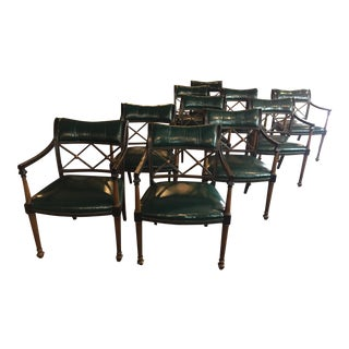 Interior Crafts Chicago Dk Forest Green Stuffed Leather Wood X Back Dining Chairs - Set of 10 For Sale