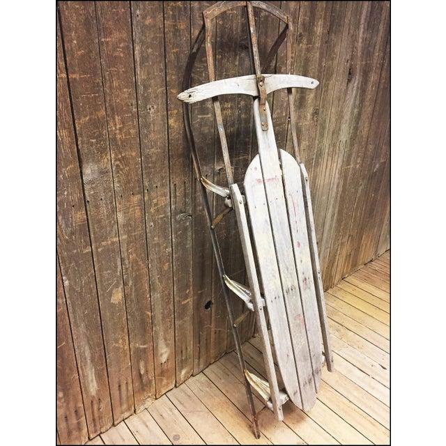 Cottage Vintage Weathered Wood & Metal Runner Sled -- Lightning Guider For Sale - Image 3 of 11