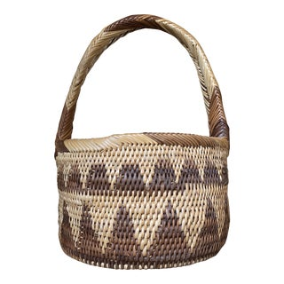 Vintage African Coil Basket With Handle For Sale
