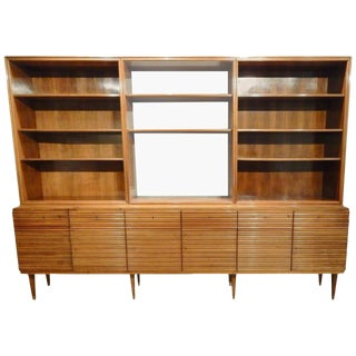 Italian Mid-Century Modern Walnut Bookcase Cabinet For Sale