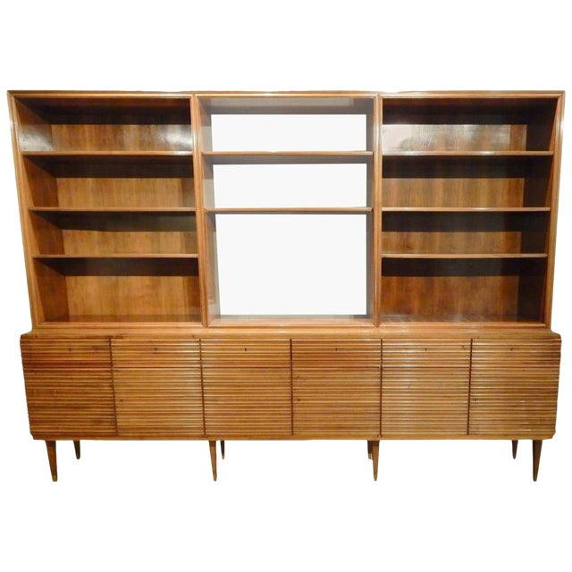 Italian Mid-Century Modern Walnut Bookcase Cabinet For Sale