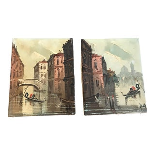 Mid 20th Century Venetian Canal Scene Oil Paintings by Antonio DeVity - a Pair For Sale
