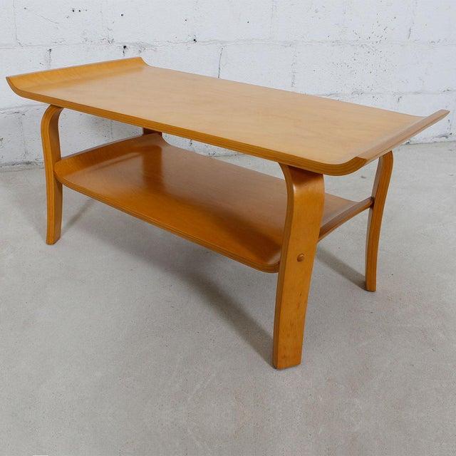 Mid Century Modern Bentwood Coffee Table In Birch With Shelf Chairish