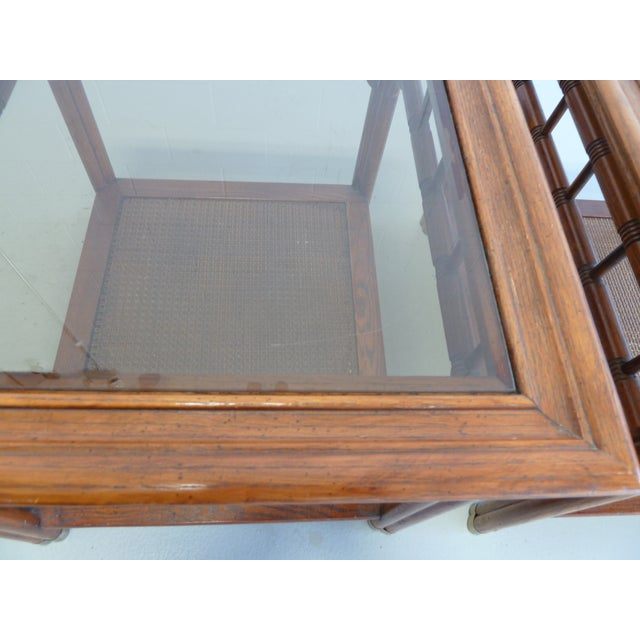 Vintage Faux Bamboo & Cane Regency Side Tables - a Pair For Sale - Image 10 of 12
