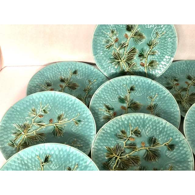 Ceramic Late 19th Century Antique French Majolica Turquoise Plates by Sarreguemines - Set of 10 For Sale - Image 7 of 11