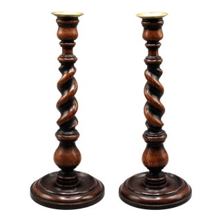 "Antique English Oak Twist Candlesticks 14"" Tall, Pair For Sale"