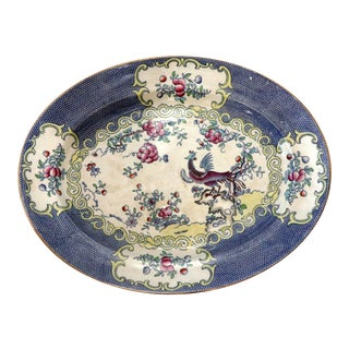 Antique Minton Royal Blue Cuckoo Cockatrice Oval Large Platter /Free Shipping! For Sale