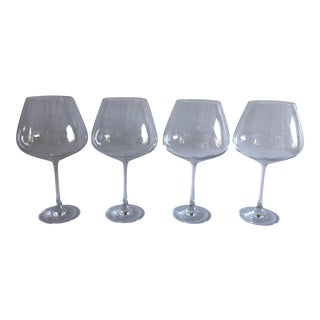 """Modern """"Lenox"""" Clear Crystal Red Wine Glasses Set of 4 For Sale"""