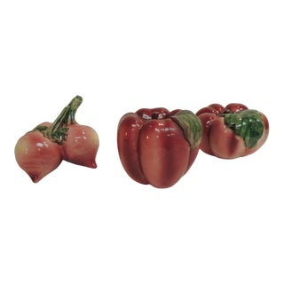 Red and Pink Handcrafted Vegetables Ceramic Figures For Sale