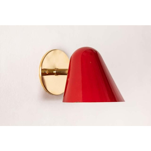 Mid-Century Modern 1950s Jacques Biny Red Wall Lights - a Pair For Sale - Image 3 of 13
