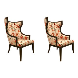 Asian Modern Currey & Co. Cherry Blossom Wingback Garson Chairs Pair For Sale