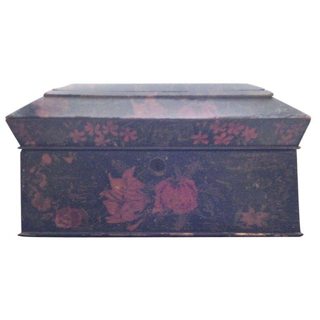 Black Painted English Victorian Tea Caddy with Original Fittings and Lined in Velvet For Sale - Image 8 of 8