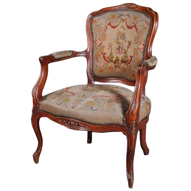 Antique French Louis XVI Carved Fruitwood Armchair With Needlepoint For Sale