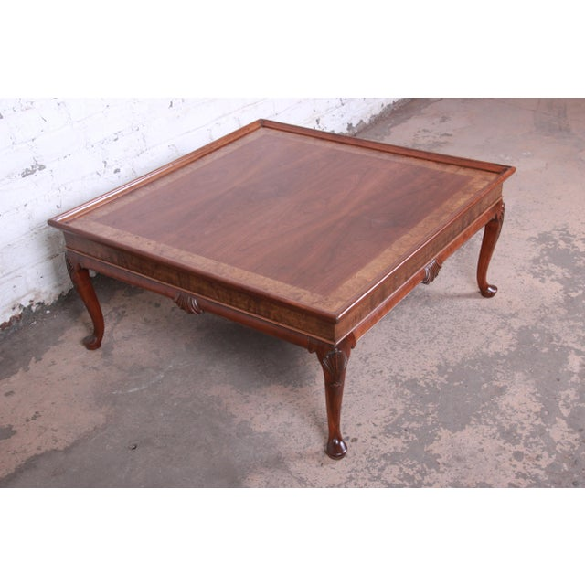 Brown Baker Furniture Queen Anne Walnut and Burl Wood Large Square Coffee Table, Newly Refinished For Sale - Image 8 of 11
