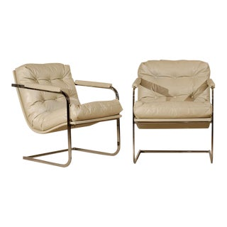 Pair of Milo Baughman Vertical Flat Bar Lounge Chairs For Sale