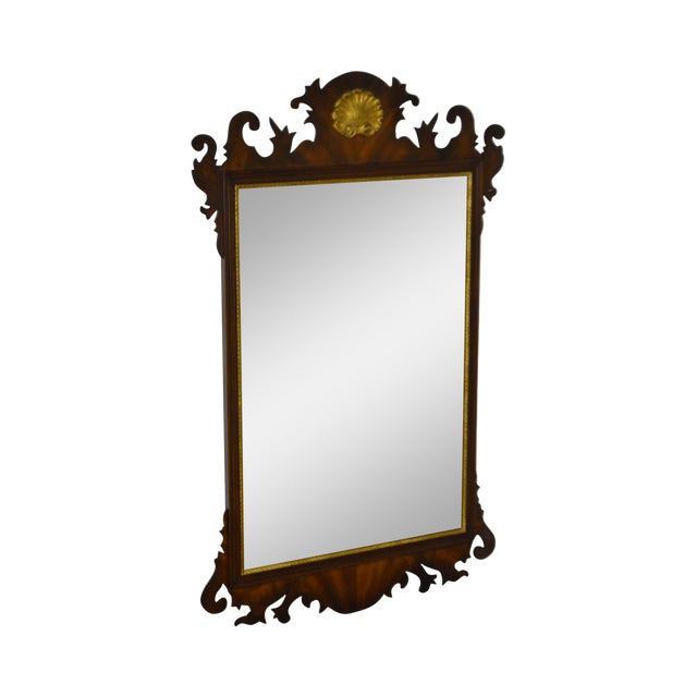 Henkel Harris Flame Mahogany Shell Carved Chippendale Style Wall Mirror - Image 1 of 10