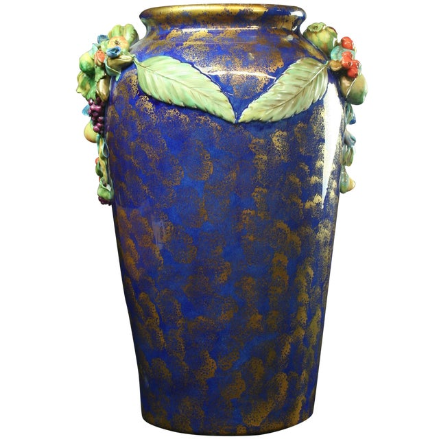Italian Majolica Blue Ceramic Umbrella Stand Vase - Image 1 of 9