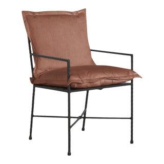 Summer Classics Italia Arm Chair in Linen Terracotta For Sale