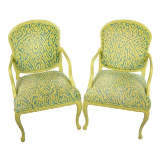 Serge Roche-Style Palm Frond Arm Chairs, Pair For Sale