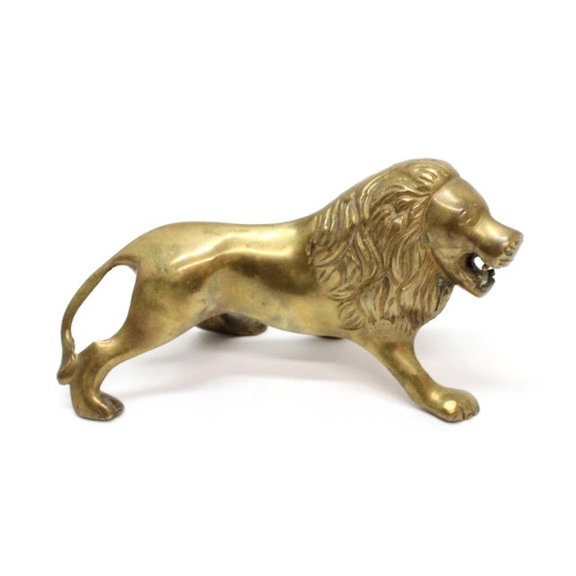 Mid-Century Modern Vintage Mid-Century Brass Lion For Sale - Image 3 of 5