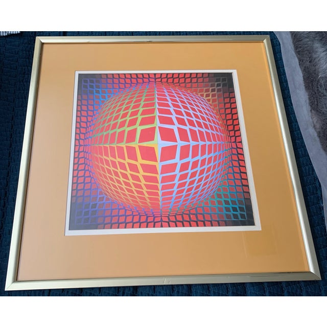 Vintage Victor Vasarely Op Art Lithograph Print Wall Hanging Mid Century Modern For Sale - Image 4 of 6