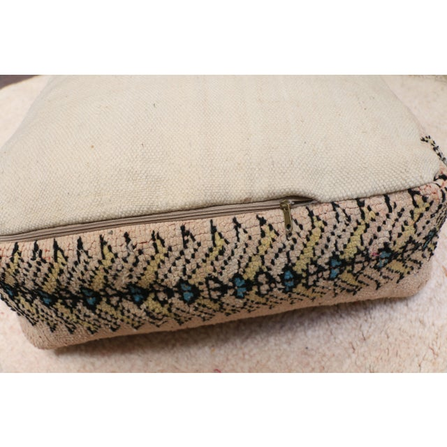 Alabaster Moroccan Rug Pillow Pouf Cover (Unstuffed) For Sale - Image 8 of 10