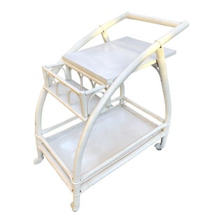 1960s Shabby Chic White Rattan Bar Cart For Sale