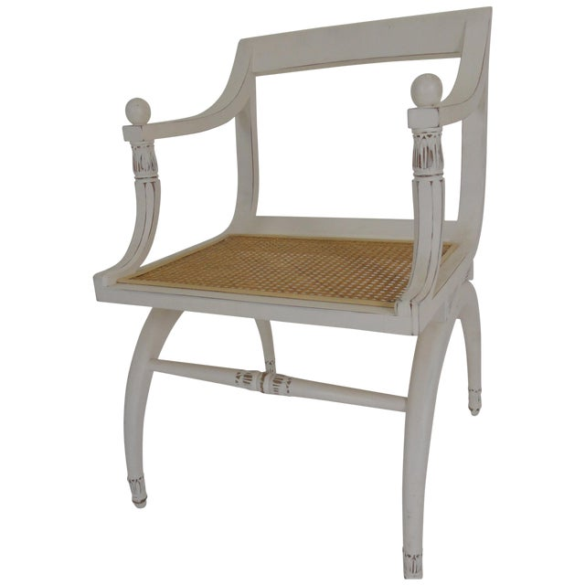 1970s Vintage Regency Style Cane Seat Chair For Sale