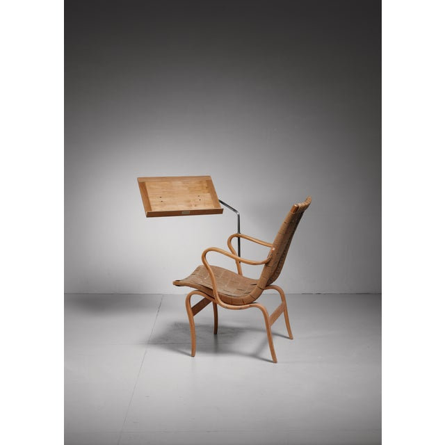 Mid-Century Modern Bruno Mathsson reading chair Eva with ottoman, Sweden, 1940s For Sale - Image 3 of 4