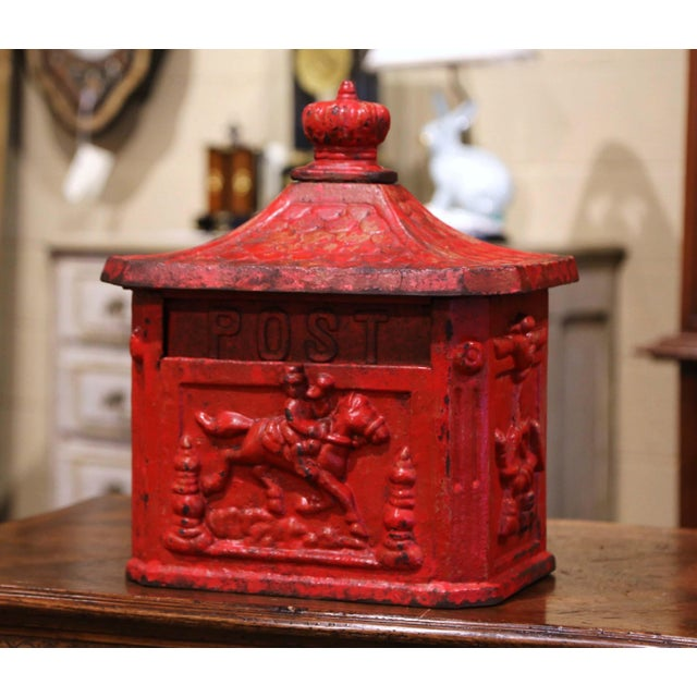 19th Century English Red Painted Cast Iron Mailbox With Relief Decor For Sale - Image 10 of 10