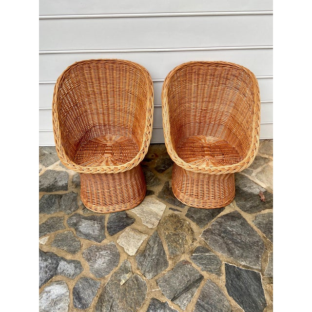 Vintage Boho Chic Wicker Scoop Chairs - a Pair For Sale - Image 10 of 10