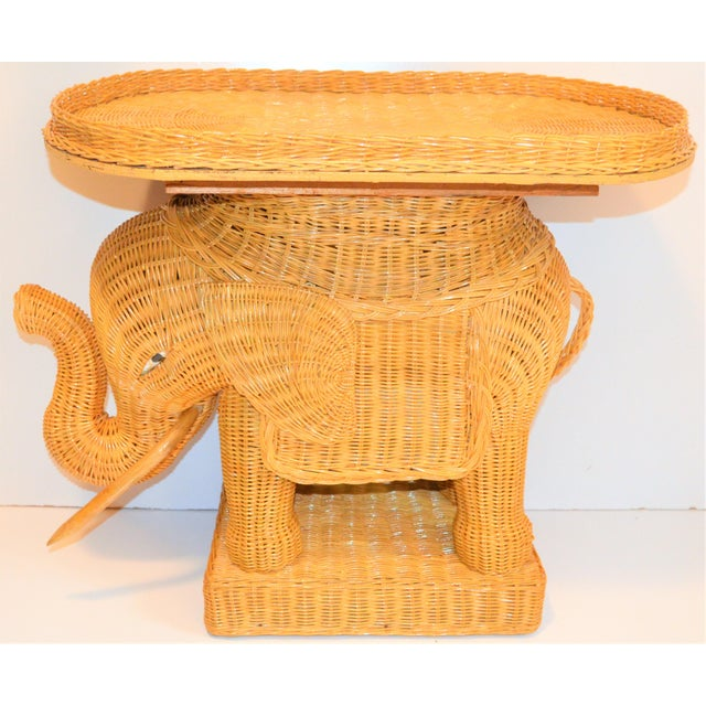 Boho Chic Wicker Rattan Elephant Tray Table (Final Markdown Taken) For Sale - Image 4 of 13