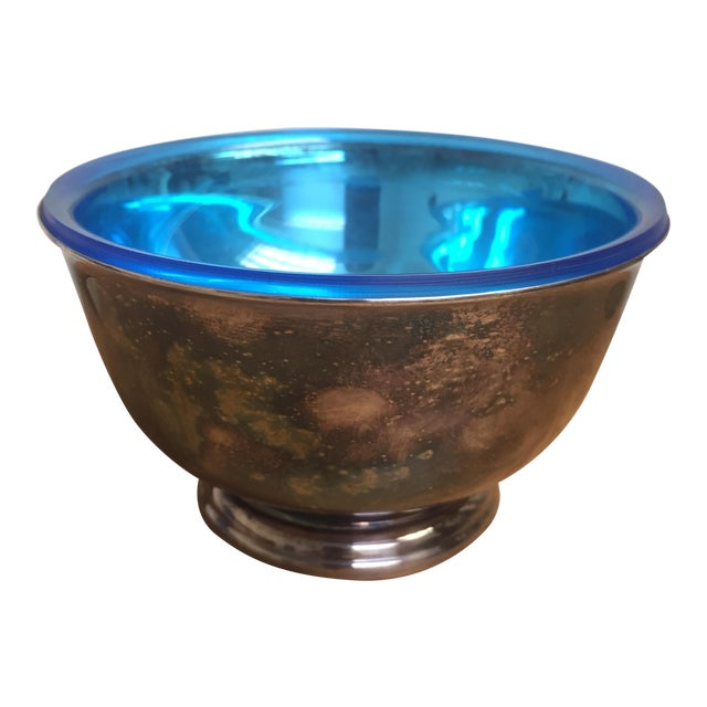 Webster Wilcox Blue Lined Silver Plate Bowl For Sale