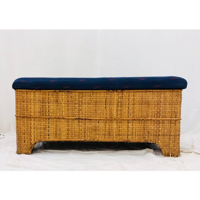 Antique Woven Bamboo Blanket Bench For Sale - Image 4 of 10