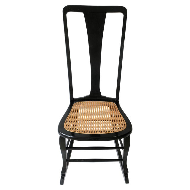 Vintage Mid Century Black Lacquer and Cane Rocking Chair For Sale
