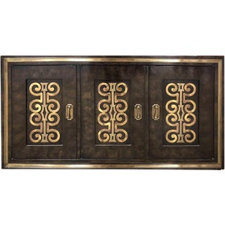 1970s Mastercraft William Doezema Burled Amboyna Wood and Brass Cabinet For Sale