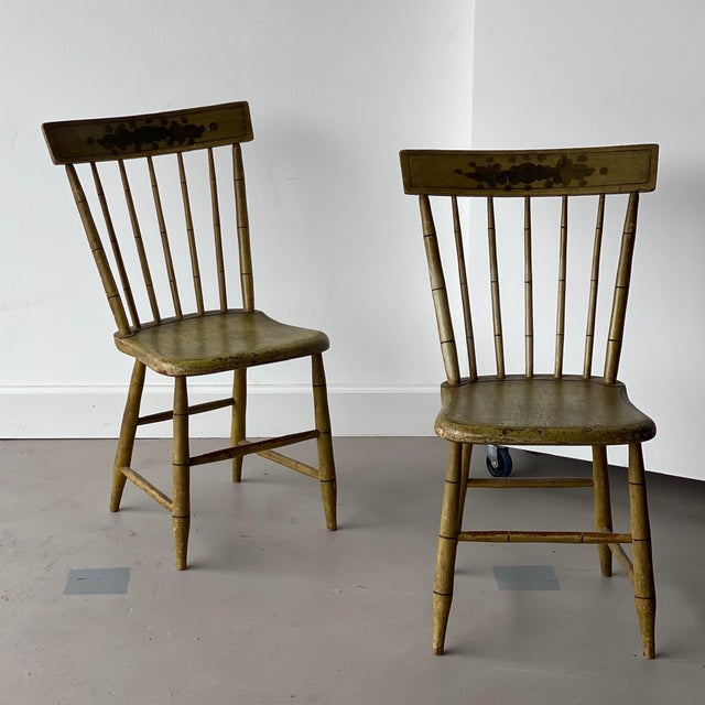 Early 20th Century Faux Bamboo Spindle Back Chairs - a Pair For Sale In West Palm - Image 6 of 6