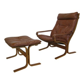 "1970s Mid Century Ingmar Relling for Westnofa Norway ""Siesta"" Chair + Ottoman For Sale"