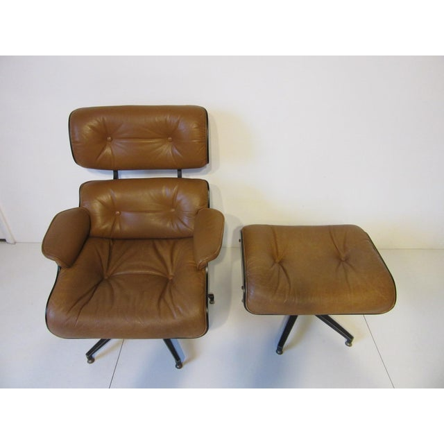 Tan Selig Swiveling Leather Lounge Chair and Ottoman For Sale - Image 8 of 10