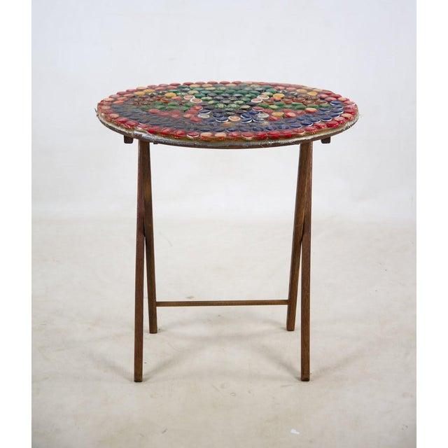 Americana 1970s Folk Art Bottle Cap X Frame Side Table For Sale - Image 3 of 9